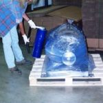 applying blue vci shrink film